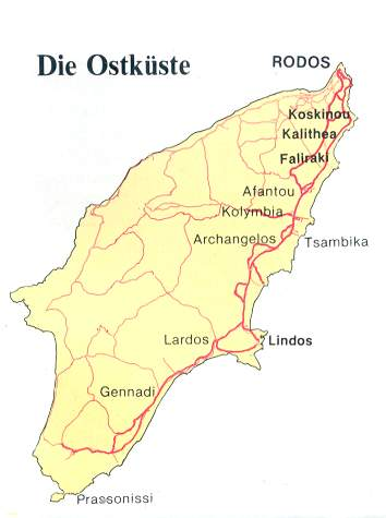 Rhodos Karte Faliraki.Ostküste